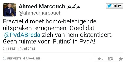 Ahmed Marcouch - tweet over uitspraken Jamal Nouhi - 10 juli 2014
