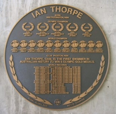 Ian Thorpe - CC-edwin11_79  Plaque Olympic Parc Sydney Acquatic Centre