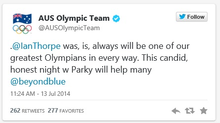 Ian Thorpe - Tweet Australian Olympic Team