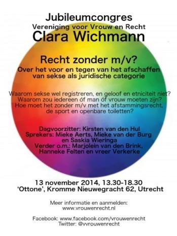 Clara Wichman Jubileumcongres 2014 FLYER