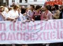 ROZE ZATERDAG Roermond 1979 kop demonstratie © Hans van der Heijden