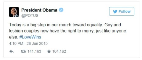 OBAMA - LOVE WINS tweet 26 juni 2015