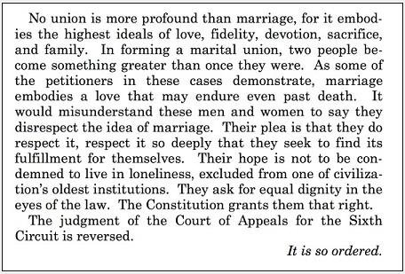 US Supreme Court - passage Obergefell v Hodges - 26 juni 2013 klein