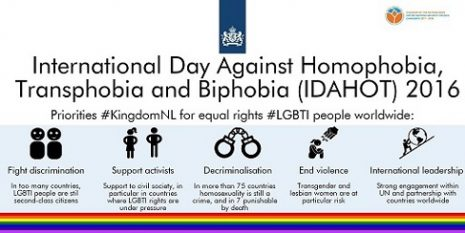 IDAHOT 2016 - prioriteiten Nederlandse regering voor gelijke rechten LHBT's wereldwijd KLEIN