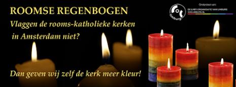 Roomse Regenboog kaarzen - COC Limburg actie Mariakapellen EuroPride 2016