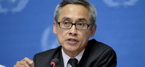 Vitit Muntarbhorn, Member of the Commission of Inquiry on the Syrian Arab Republic at a press conference. 16 June 2014. UN Photo / Jean-Marc Ferré